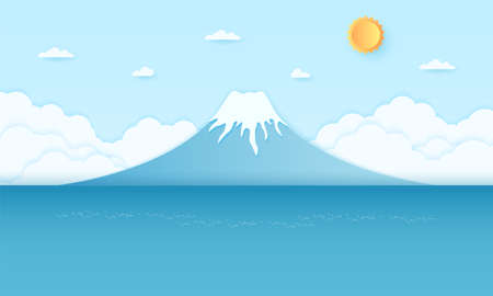 Mountain and sea with bright sun and blue sky, paper art style Illustration