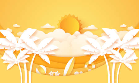 Summer Time, Cloudscape, cloudy sky with bright sun, coconut palm tree with summer stuff, paper art style Stock Illustratie