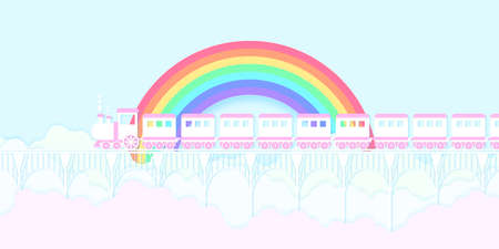 Transportation, pink train running on the bridge with rainbow, blue sky and colorful cloud, paper art style