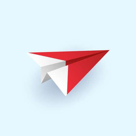 Origami plane flying, paper art style Ilustración de vector