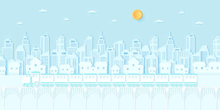 Transportation, Train running on the bridge, Cityscape, residential, house, buildings with blue sky and sun, paper art style 向量圖像