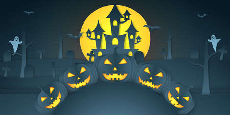 Halloween pumpkin head on hill with castle, graveyard, bat, ghost and bright moon, paper art style Vector Illustration
