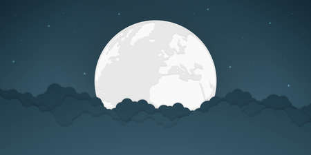 Full moon and bright stars with cloud, vector illustration.