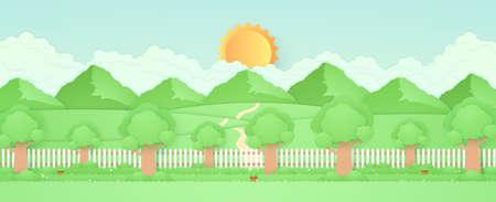 Spring Time, landscape, trees in the garden with plant pots, beautiful flowers on grass and fence, hill and mountains, paper art style