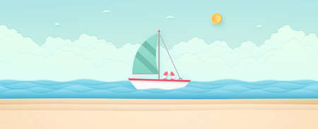 Summer Time, seascape, landscape, sailboat with blue sea and beach, cloud, sun, paper art style