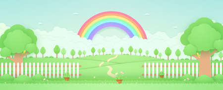 Spring Time, landscape, trees on the hill, rainbow in the sky, garden with plant pots, flowers on grass and fence, bird on the branch, paper art style Ilustracja