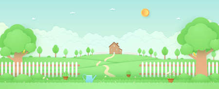 Spring Time, landscape, house on the hill, garden with trees, plant pots, beautiful flowers, watering can on grass and fence, bird on the branch, paper art style Vettoriali