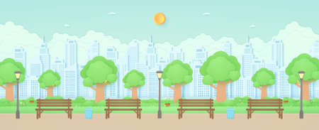 Wooden bench, street light and trash can in the garden with trees, bird on the branch, plant pots and flowers on grass, Cityscape, building background, paper art style