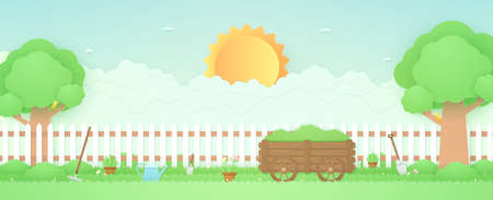 Spring Time, landscape, garden with wooden cart, trees, plant pots, beautiful flowers, farm stuff on grass and fence, bird on the branch, bright sun and cloud, paper art style Vettoriali