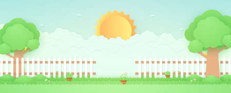 Spring Time, landscape, garden with trees, plant pots, beautiful flowers on grass and fence, bird on the branch, bright sun and cloud, paper art style Ilustracja