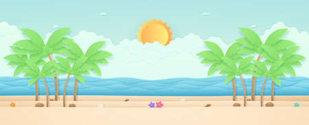 Summer Time, seascape, landscape, starfish and coconut trees on the beach with sea, bright sun in the sky, paper art style