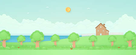 Spring Time, panorama landscape, sea, house on the hill and fence, garden with trees, plant pots, flowers on grass, bird on the branch, paper art style  イラスト・ベクター素材