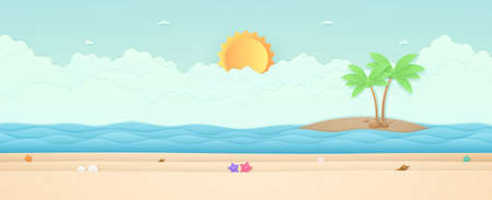 Summer Time, seascape, landscape, starfish on the beach with sea and island, bright sun in the sky, paper art style