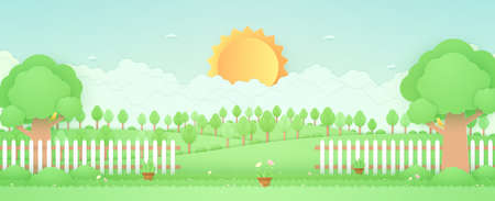 Spring Time, landscape, trees on the hill, garden with plant pots, beautiful flowers on grass and fence, bird on the branch, paper art style