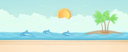 Summer Time, seascape, landscape, dolphins swimming in the sea, beach and coconut trees on island, sun in the sky, paper art style  イラスト・ベクター素材