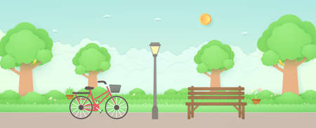 Spring Time, bicycle in the garden with wooden bench and street light, bird on trees, plant pots and flowers on grass, sun and cloudscape, paper art style