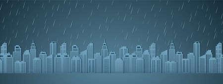 Cityscape with rain, dark sky, rainy season, paper art style