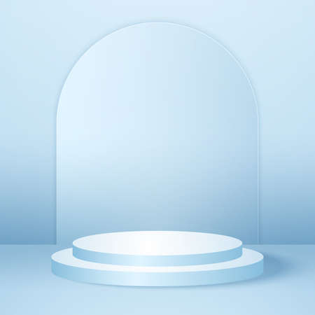 Realistic round podium or pedestal with blue empty studio room, minimal product background, template mock up for display, geometric shape