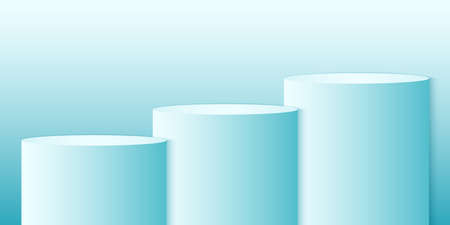 Cyan gradient round podium or pedestal, minimal circle product background, template mock up for display, geometric shape