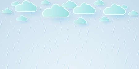 Vector illustration, rainstorm, rain background, rainy season, paper art style