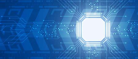 Technology microchip, blue circuit board, digital arrow movement background