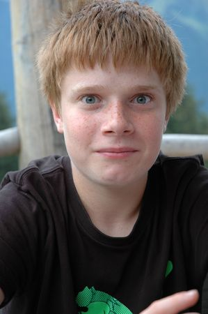 Boy with red hair and freckles