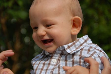 Toddler having fun Stock Photo