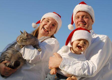 Christmas Family Portrait wit cat photo