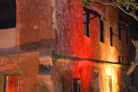 illuminated housefront Stock Photo