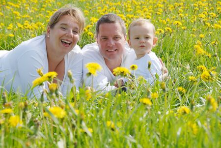 Junge Familie mit Kleinkind in Löwenzahn-Feld  Standard-Bild - 7071020