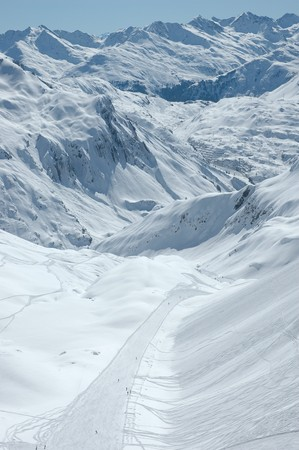 Downhill - ski-slope to Zürs Stock Photo