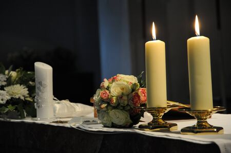 Wedding Bouquet and Candle Stock Photo - 7467451