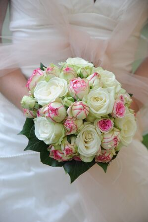 Wedding Bouquet with white and pink roses Stock Photo