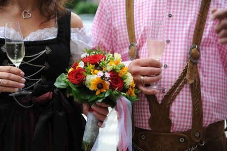 bride and groom in traditional clothing
