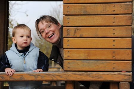 Happy laughing mother and son Stock Photo