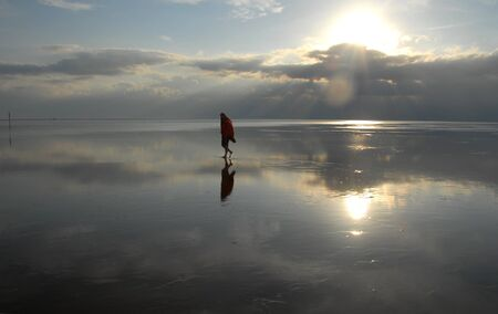 wadden sea: Hiking the Wadden Sea Stock Photo