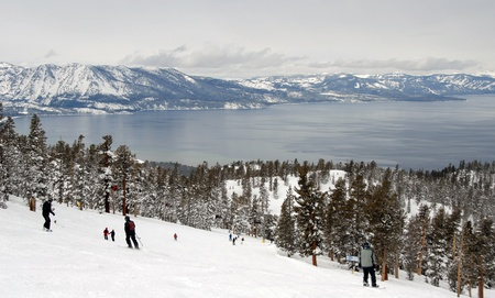 water skiing: Skiing Lake Tahoe - in Heavenly - Editorial