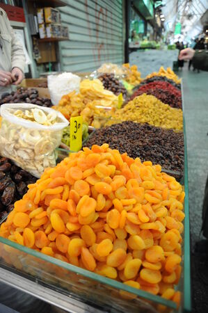 Market in Jerusalem with dried fruits Stock Photo