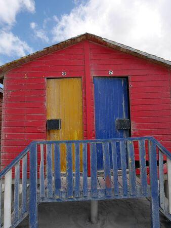 Colorful bath house in Muizenberg Stock Photo