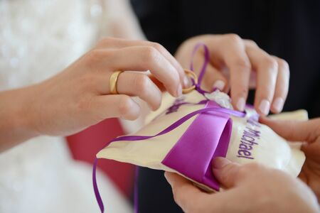 Ringpillow - bride is getting the ring Stock Photo