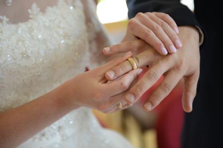 Exchange of the wedding rings photo