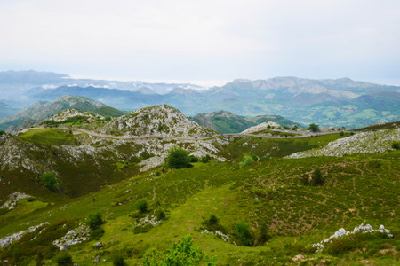 Aerial view from the covadonga national park to the atlantic ocean