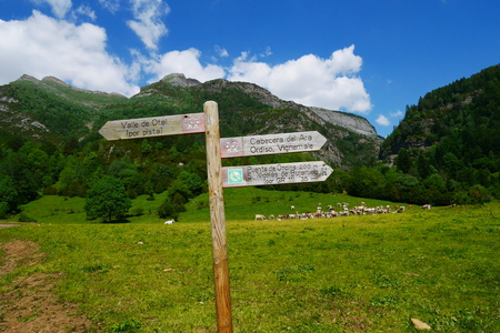 Hiking signs in the ordesa national park