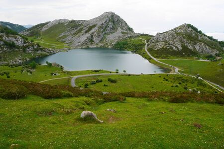 Covadonga valley with view to the lake enol