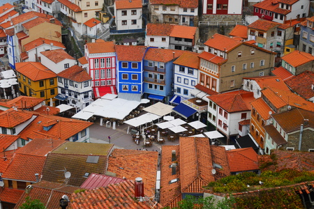 Aerial view of Cudillero, spain Stock Photo