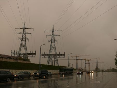 erecting: High-voltage transmission towers. electroenergetic