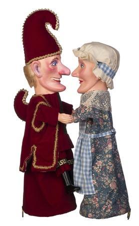 puppets: Punch and Judy look into each others eyes Stock Photo