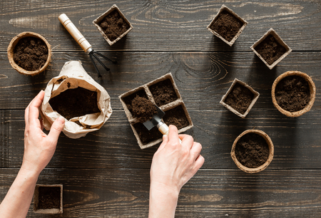 Frau gießt Boden in die umweltfreundlichen Töpfe, um Setzlinge, Töpfe auf Holzhintergrund, kleine Tasche mit Boden- und Gartenkelle und Rechen zu pflanzen