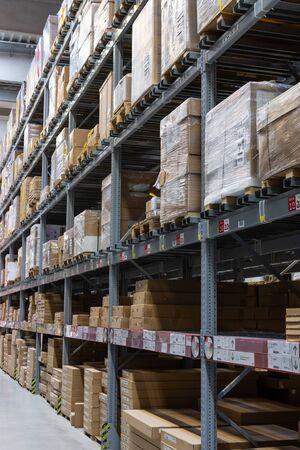 Berlin, Germany- May 24, 2019: long rows of shelves with goods in the warehouse of the store Ikea