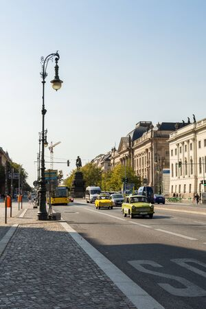 Berlin, Germany- September 19, 2018: walk on the street Unter den Linden, the equestrian statue of Frederick the Great